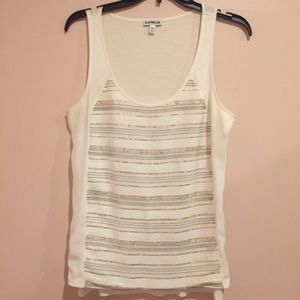 Express white gold sequin top; never worn; size M